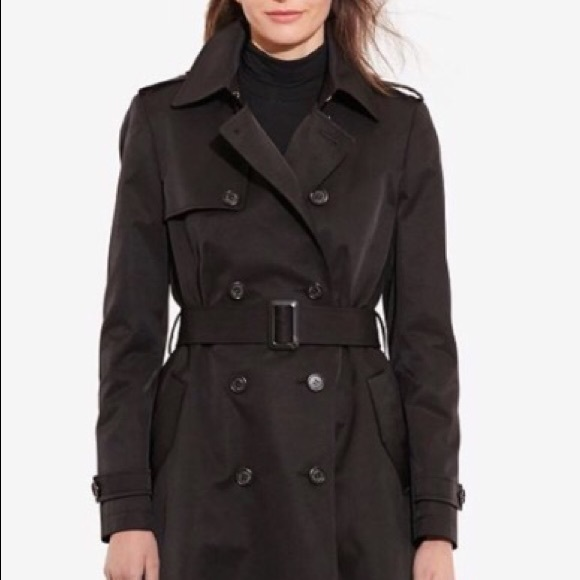 Black Lauren Ralph Trench Coat Lcj34A5Rq